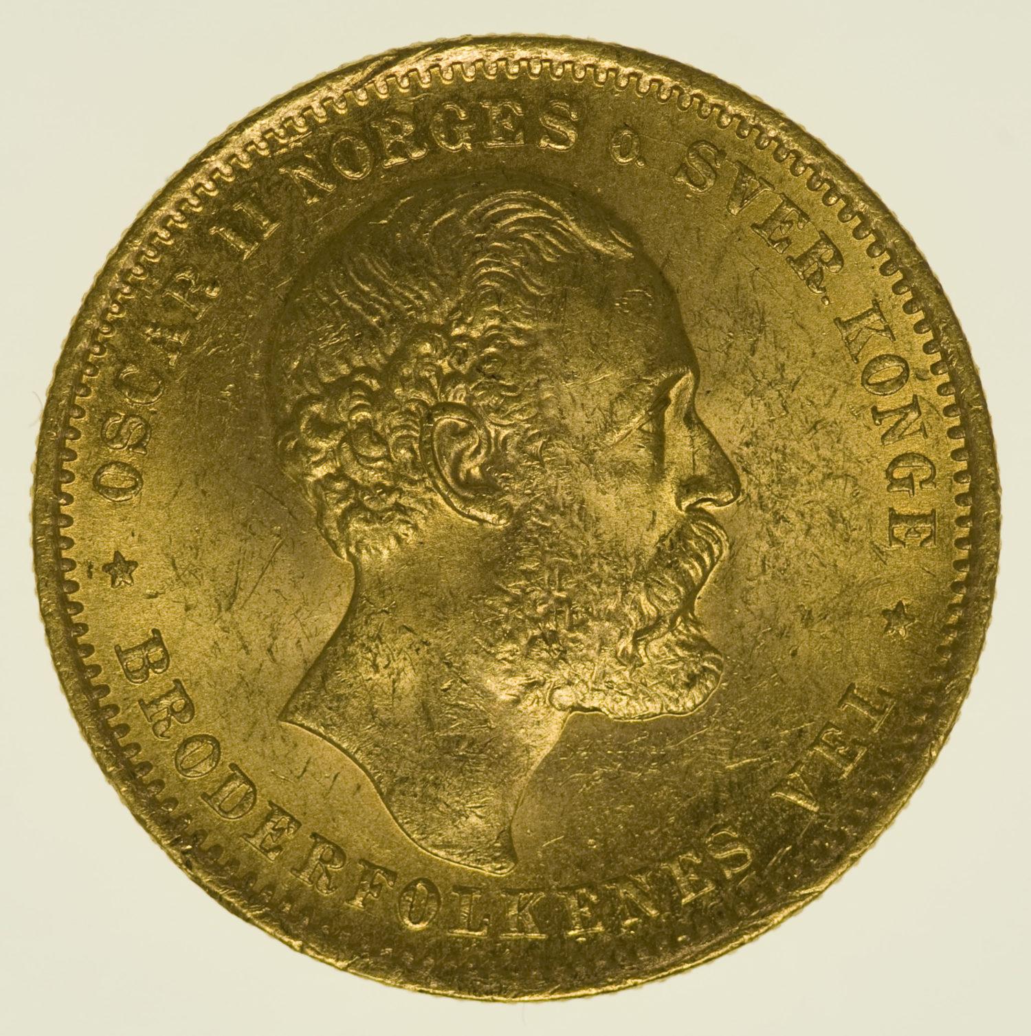norwegen - Norwegen Oskar II. 20 Kronen 1876