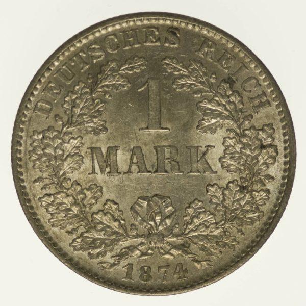 Kaiserreich 1 Mark 1874 D Silber 5 Gramm fein RAR