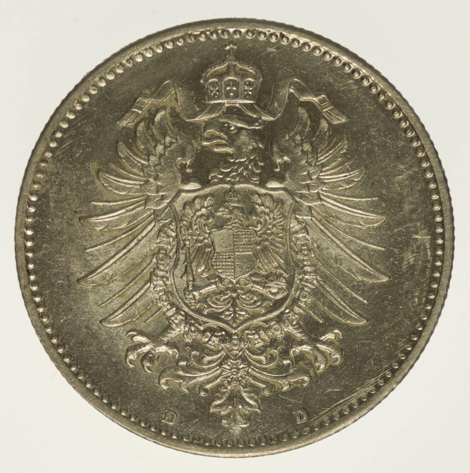 Kaiserreich 1 Mark 1886 D Silber 5 Gramm fein RAR