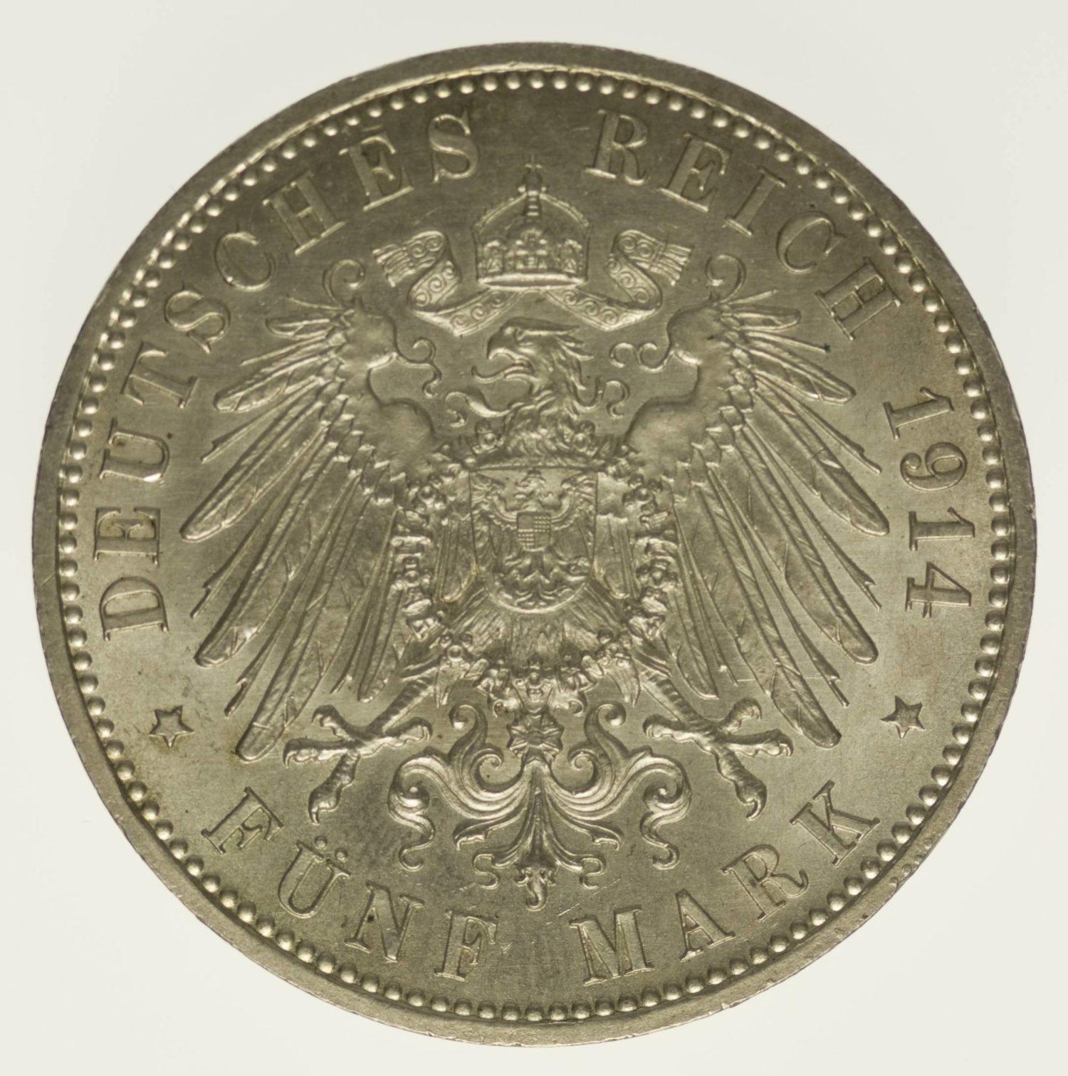 Anhalt Friedrich II. Silberhochzeit 5 Mark 1914 Silber 25 Gramm fein RAR