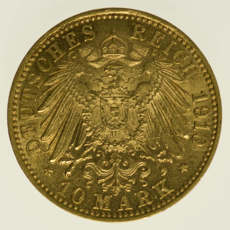 Baden Friedrich II. 10 Mark 1910 Gold 3,58 Gramm fein RAR