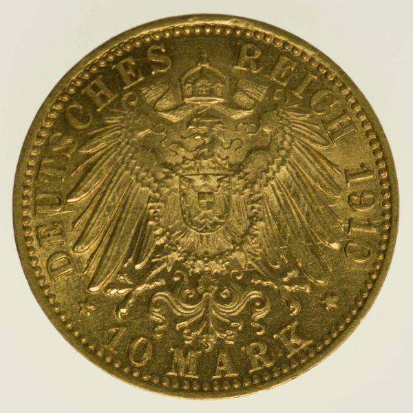 Baden Friedrich II. 10 Mark 1910 Gold 3,58 Gramm fein RAR