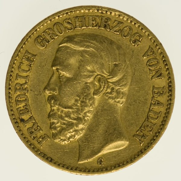 Baden Friedrich I. 20 Mark 1874 Gold 7,16 Gramm fein RAR