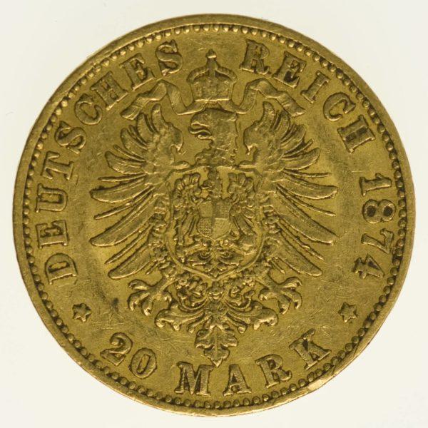 Baden Friedrich I. 20 Mark 1874 Gold 7,16 Gramm fein RAR
