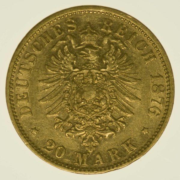 Bayern Ludwig II. 20 Mark 1876 Gold 7,16 Gramm fein RAR