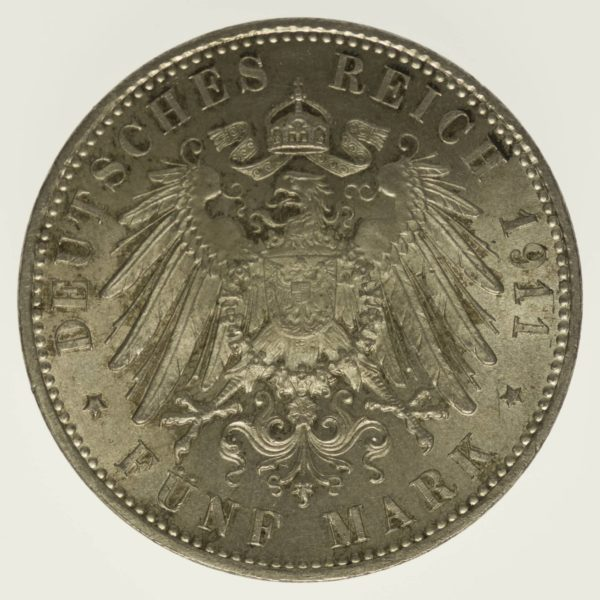 Bayern Luitpold 5 Mark 1911 Silber 25 Gramm fein RAR
