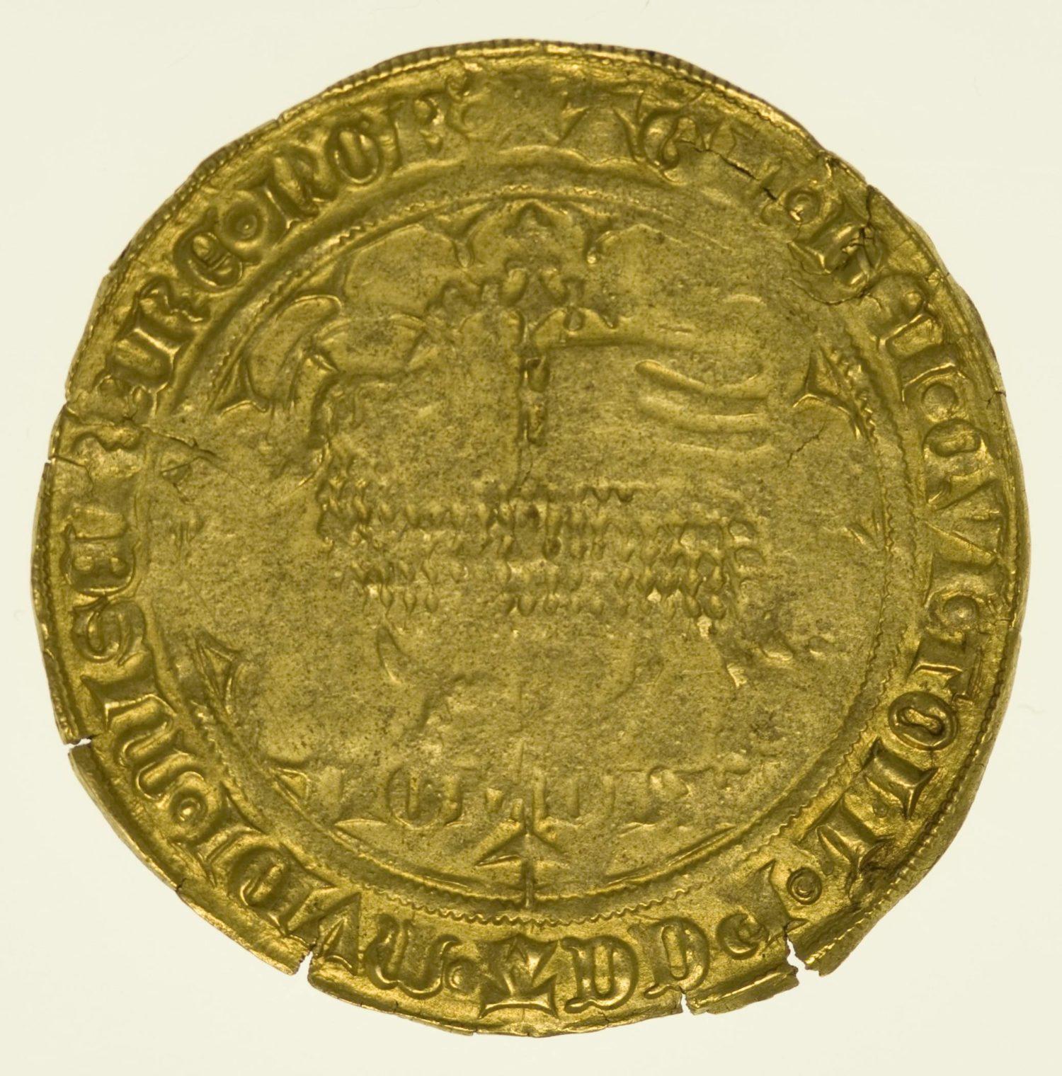Belgien Johanna und Wenzel 1355-1383 Mouton d'or o.J. Gold RAR