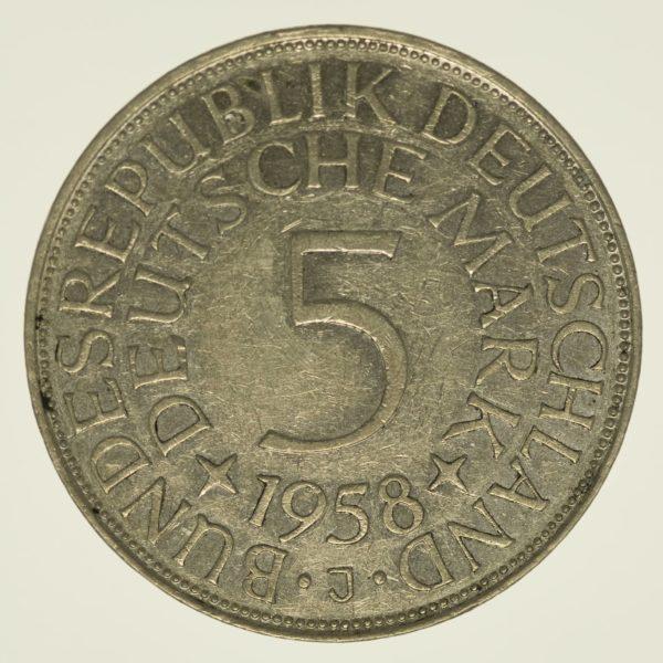 Bundesrepublik Deutschland 5 Mark 1958 J Silber 7,00 Gramm fein RAR