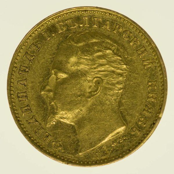 Bulgarien Ferdinand I. 20 Lewa 1894 Gold 5,81 Gramm fein RAR
