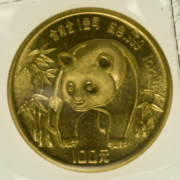 1 Unze Goldmünze China Panda 1986 100 Yuan 31,1 Gramm Gold RAR