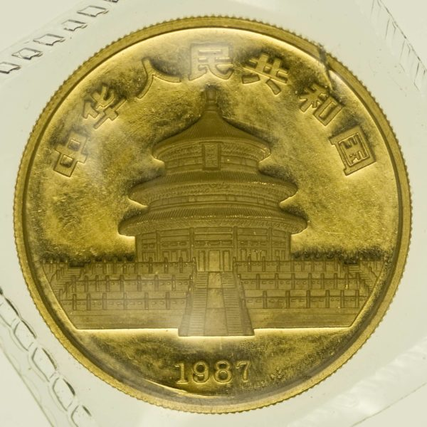 1 Unze Goldmünze China Panda 1987 100 Yuan 31,1 Gramm Gold RAR