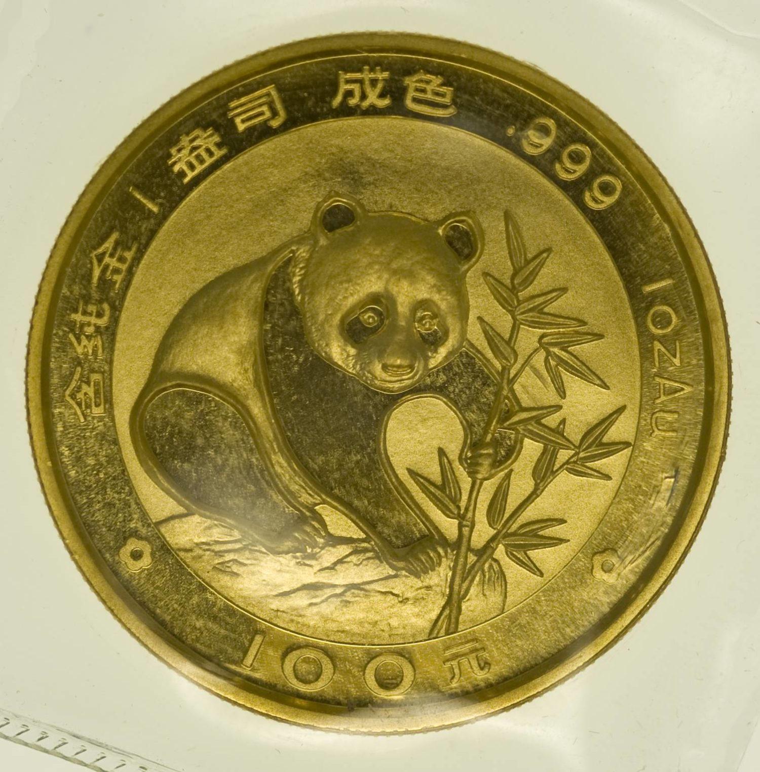 1 Unze Goldmünze China Panda 1988 100 Yuan 31,1 Gramm Gold RAR