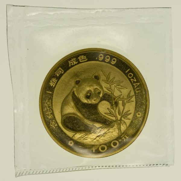 1 Unze Goldmünze China Panda 1988 100 Yuan 31,1 Gramm Gold RAR