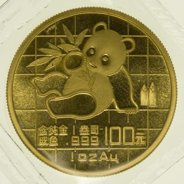 1 Unze Goldmünze China Panda 1989 100 Yuan 31,1 Gramm Gold RAR
