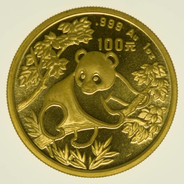 1 Unze Goldmünze China Panda 1992 100 Yuan 31,1 Gramm Gold RAR