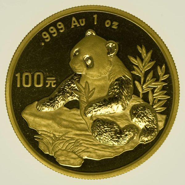 1 Unze Goldmünze China Panda 1998 100 Yuan 31,1 Gramm Gold RAR