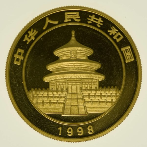1 Unze Goldmünze China Panda 1998 100 Yuan 31,1 Gramm Gold RAR