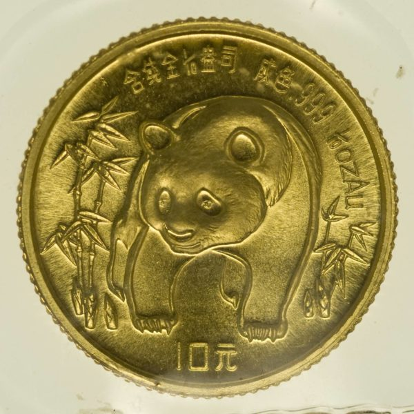 1/10 Unze Goldmünze China Panda 1986 10 Yuan 3,11 Gramm fein Gold RAR