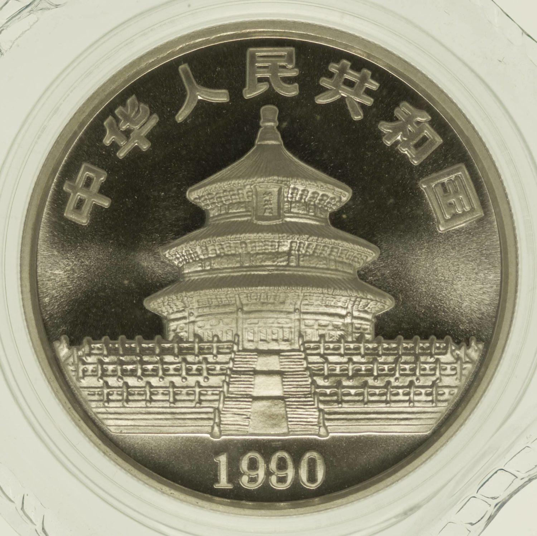 1 Unze Silbermünze China Panda 1990 10 Yuan 31,1 Gramm Silber RAR