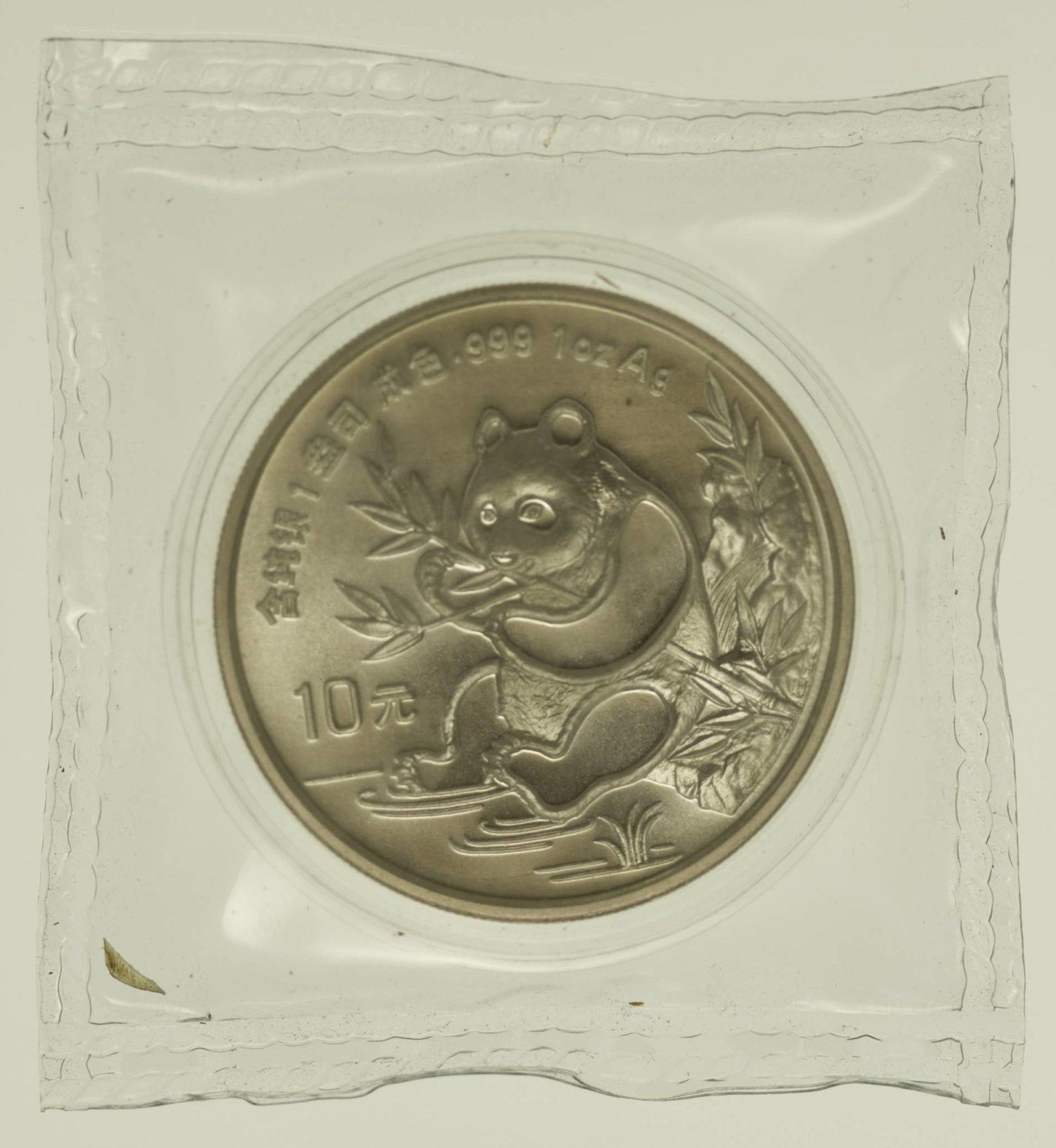 1 Unze Silbermünze China Panda 1991 10 Yuan 31,1 Gramm Silber fein RAR
