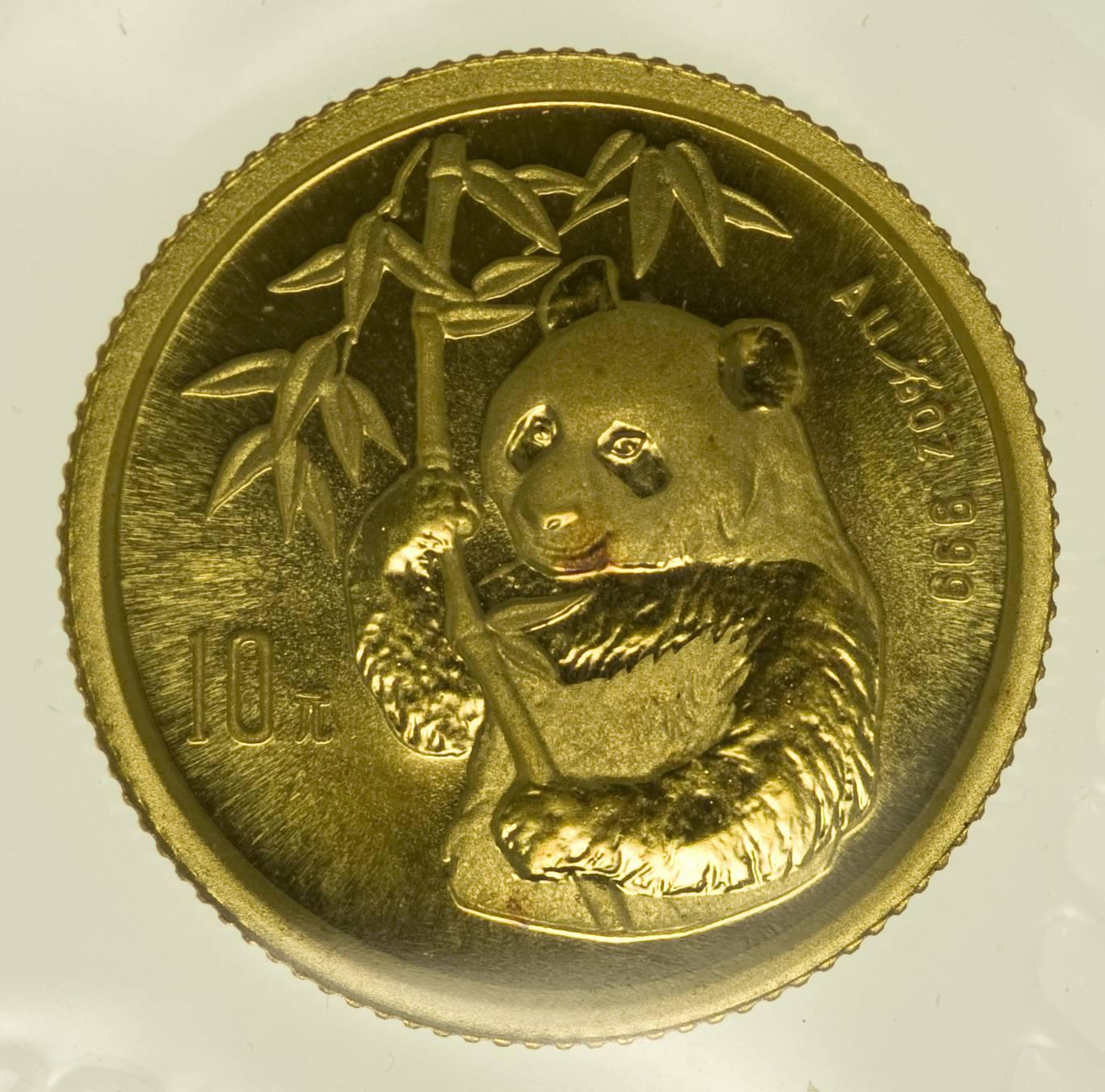 1/10 Unze Goldmünze China Panda 1995 10 Yuan 3,11 Gramm fein Gold RAR