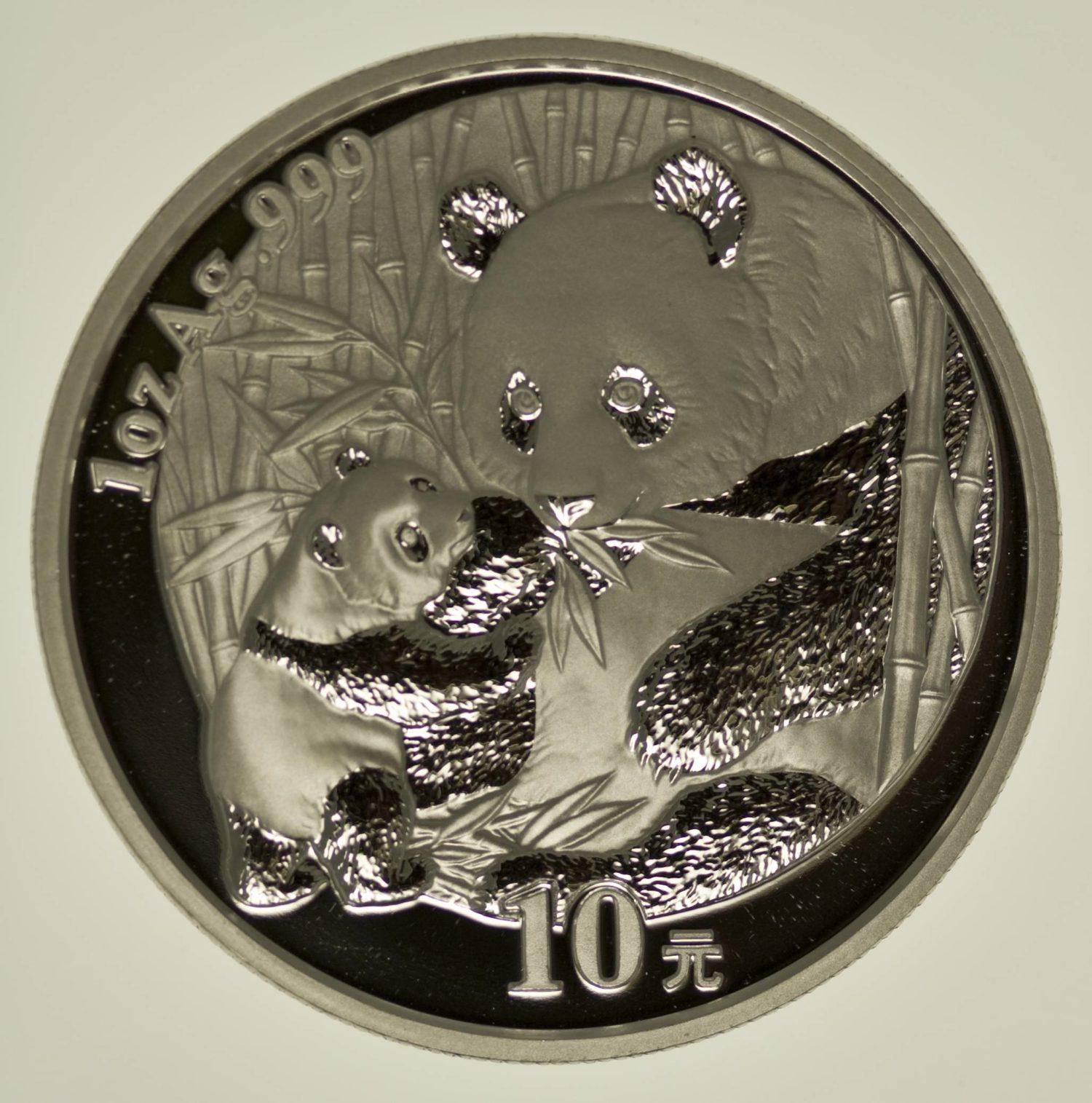 1 Unze Silbermünze China Panda 2005 10 Yuan 31,1 Gramm Silber RAR