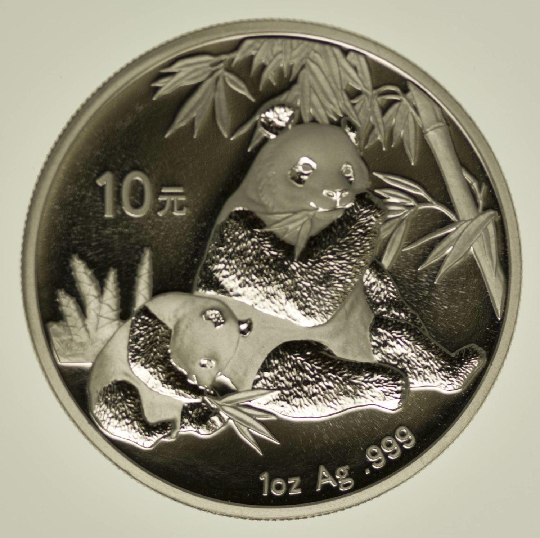 1 Unze Silbermünze China Panda 2007 10 Yuan 31,1 Gramm Silber RAR