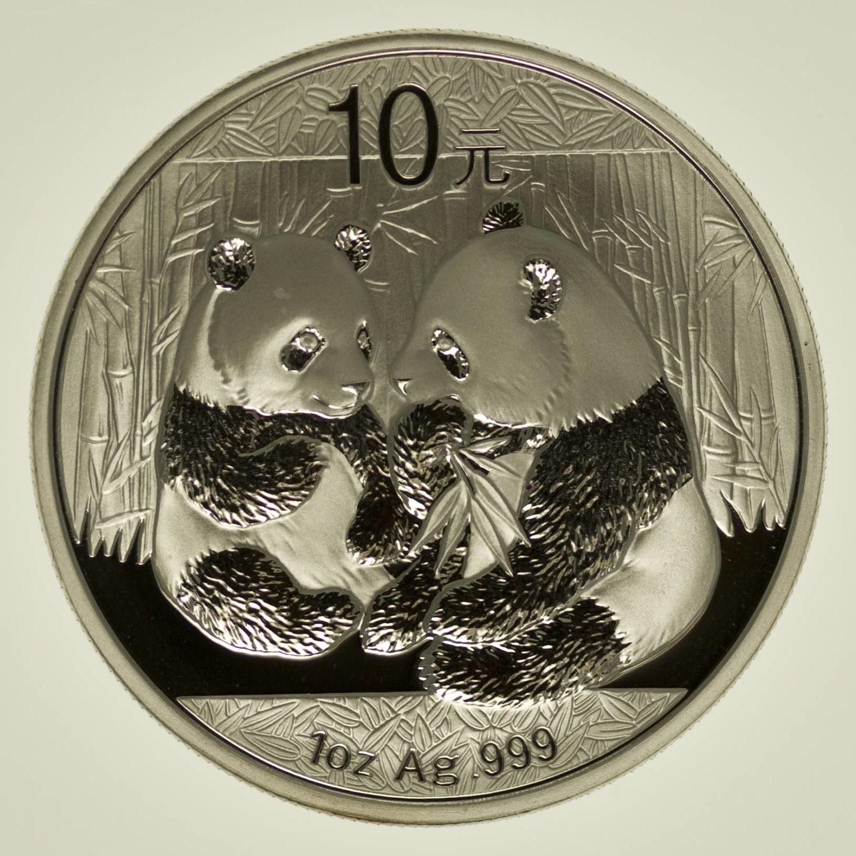 1 Unze Silbermünze China Panda 2009 10 Yuan 31,1 Gramm Silber RAR