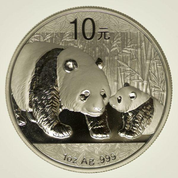 1 Unze Silbermünze China Panda 2011, 10 Yuan 31,1 Gramm Silber RAR