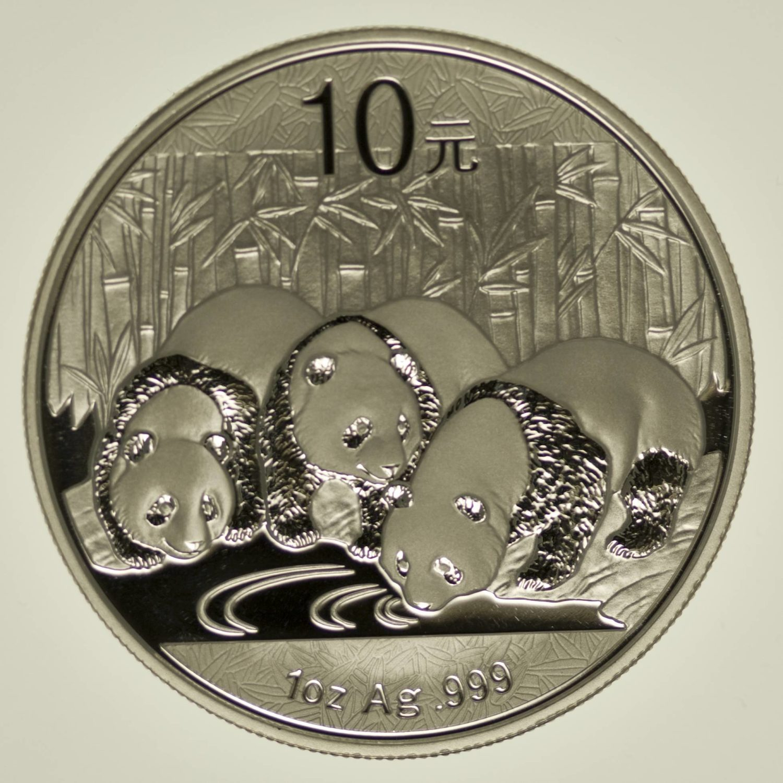 1 Unze Silbermünze China Panda 2013, 10 Yuan 31,1 Gramm Silber RAR