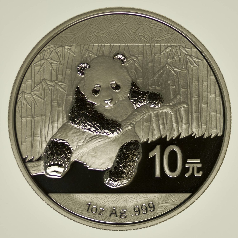 1 Unze Silbermünze China Panda 2014, 10 Yuan 31,1 Gramm Silber RAR