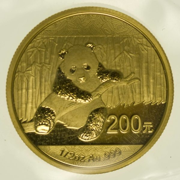 1/2 Unze Goldmünze China Panda 2014 200 Yuan 15,55 Gramm fein Gold RAR