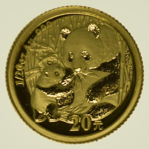 1/20 Unze Goldmünze China Panda 2005 20 Yuan 1,56 Gramm fein Gold RAR