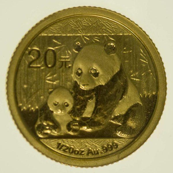 1/20 Unze Goldmünze China Panda 2012 20 Yuan 1,56 Gramm fein Gold RAR