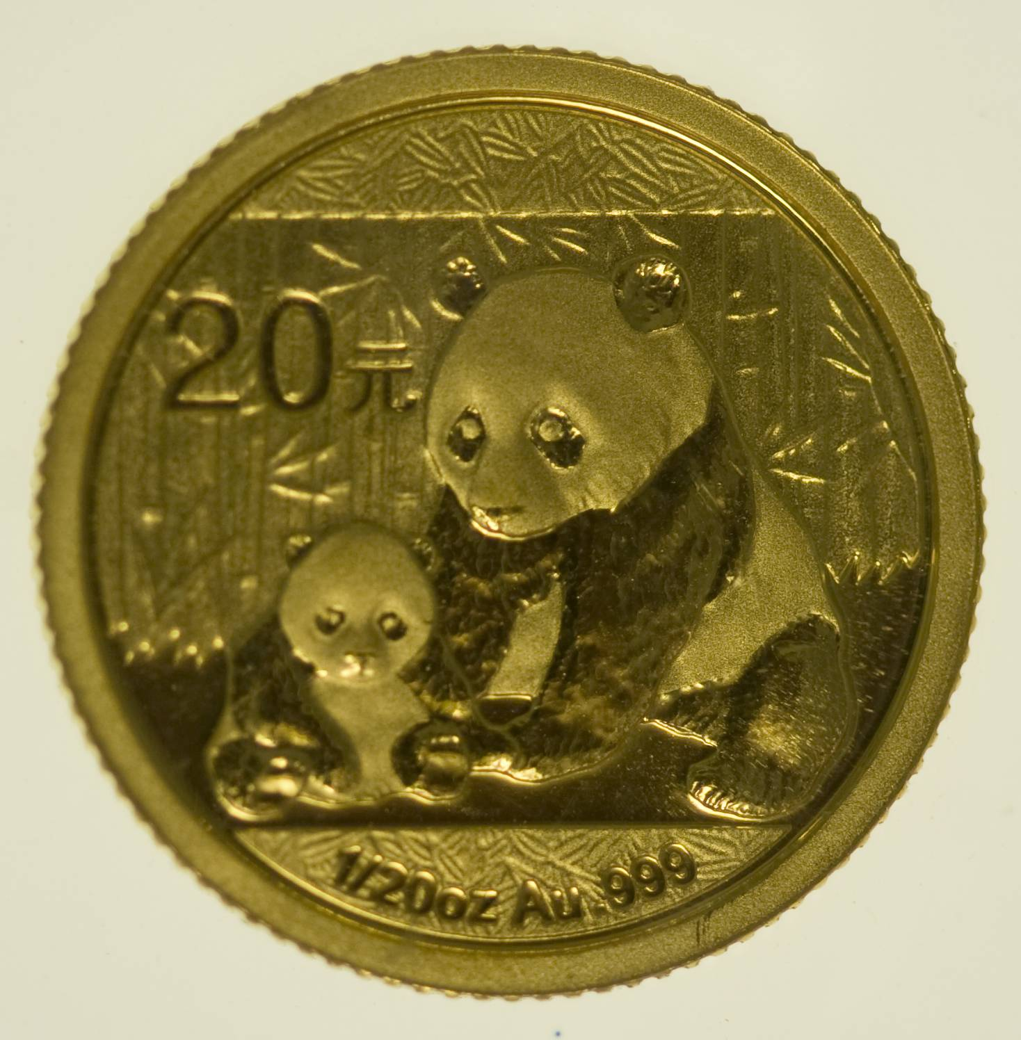 1/20 Unze Goldmünze China Panda 2012 20 Yuan 1,56 Gramm fein Gold RAR