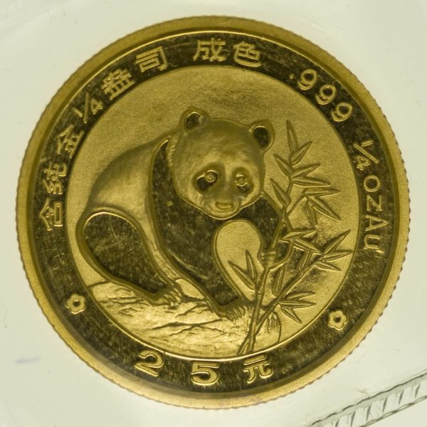 1/4 Unze Goldmünze China Panda 1988 25 Yuan 7,78 Gramm fein Gold RAR