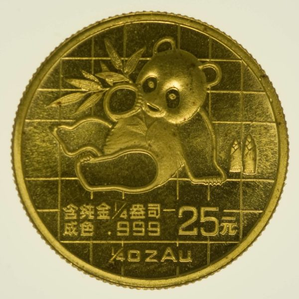 1/4 Unze Goldmünze China Panda 1989 25 Yuan 7,78 Gramm fein Gold RAR