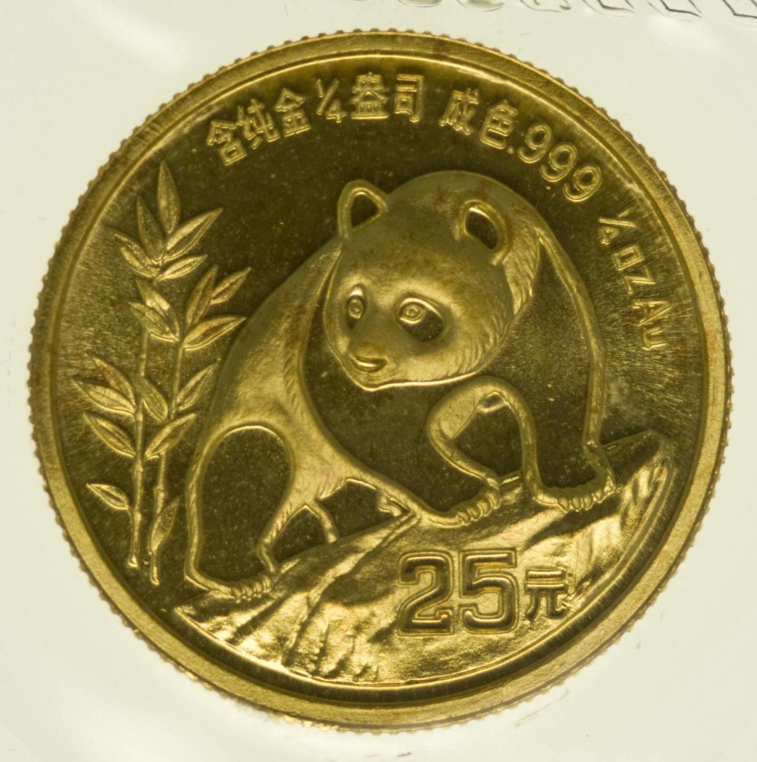 1/4 Unze Goldmünze China Panda 1990 25 Yuan 7,78 Gramm fein Gold RAR