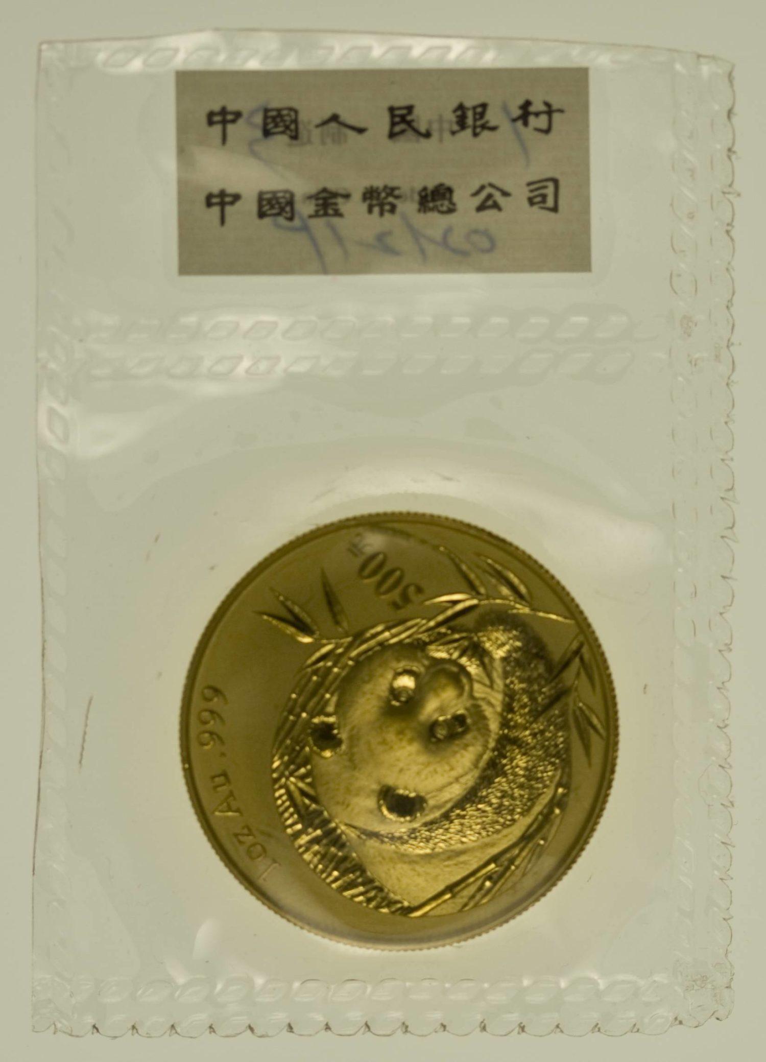 1 Unze Goldmünze China Panda 2003 500 Yuan 31,1 Gramm Gold RAR