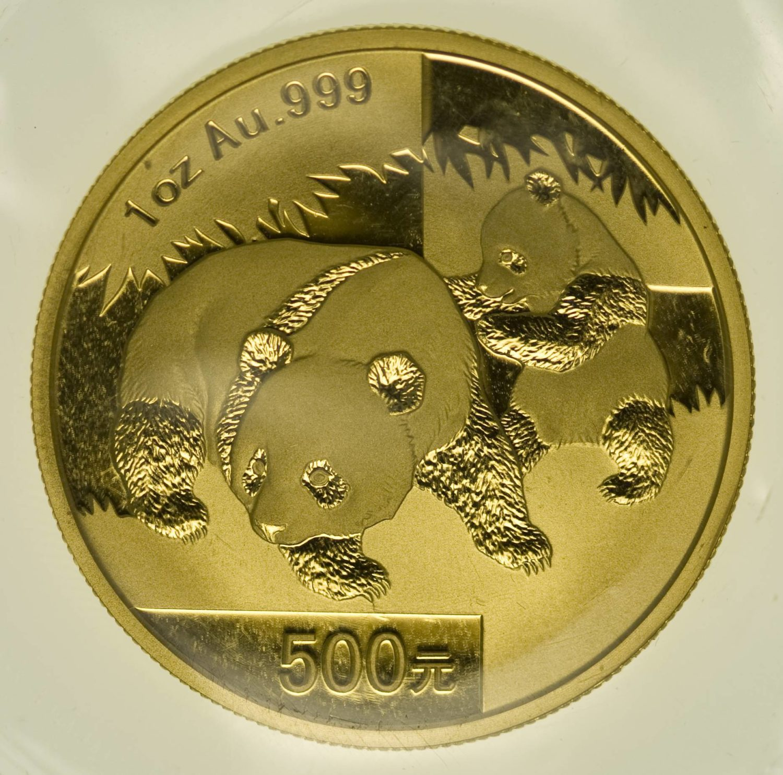 1 Unze Goldmünze China Panda 2008 500 Yuan 31,1 Gramm Gold RAR