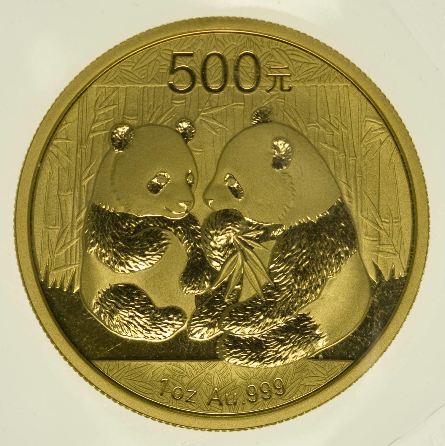 1 Unze Goldmünze China Panda 2009 500 Yuan 31,1 Gramm Gold RAR