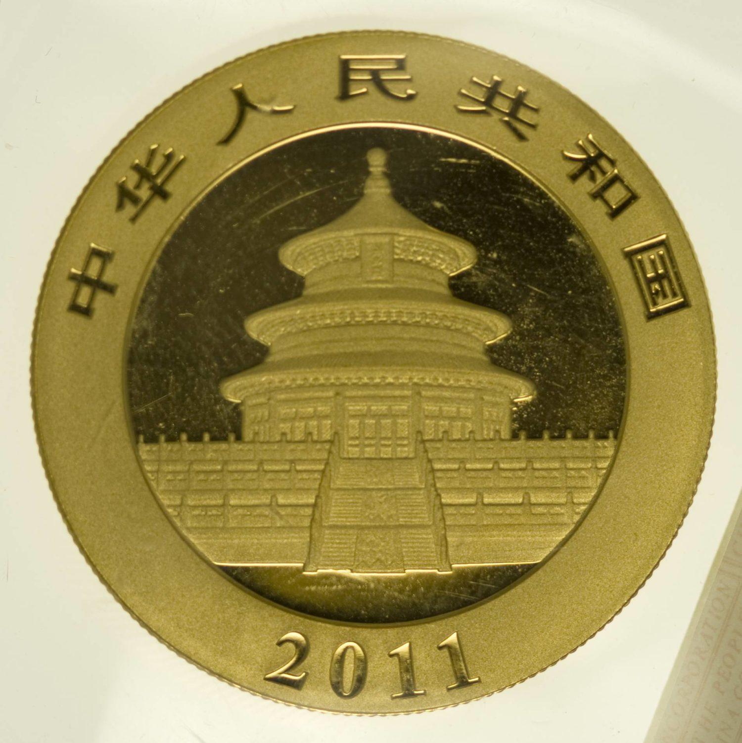 1 Unze Goldmünze China Panda 500 Yuan 2011 31,1 Gramm fein Gold RAR