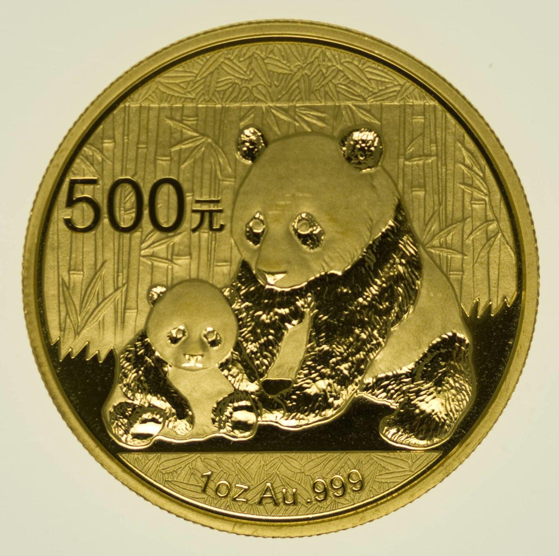 1 Unze Goldmünze China Panda 500 Yuan 2012 31,1 Gramm Gold RAR