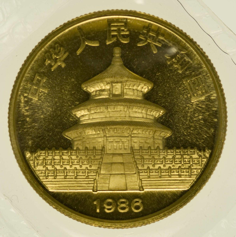 1/2 Unze Goldmünze China Panda 1986 50 Yuan 15,55 Gramm fein Gold RAR