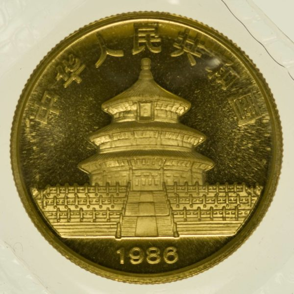 1/2 Unze Goldmünze China Panda 1986 50 Yuan 15,55 Gramm fein Gold RAR
