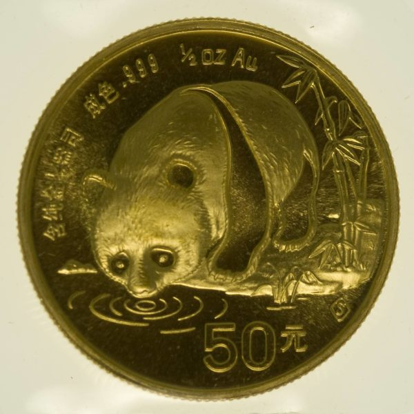 1/2 Unze Goldmünze China Panda 1987 50 Yuan 15,55 Gramm fein Gold RAR