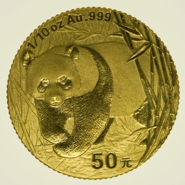 1/10 Unze Goldmünze China Panda 2001 50 Yuan 3,11 Gramm fein Gold RAR