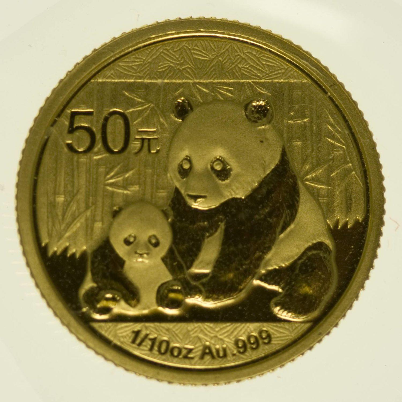 1/10 Unze Goldmünze China Panda 2012 50 Yuan 3,11 Gramm fein Gold RAR