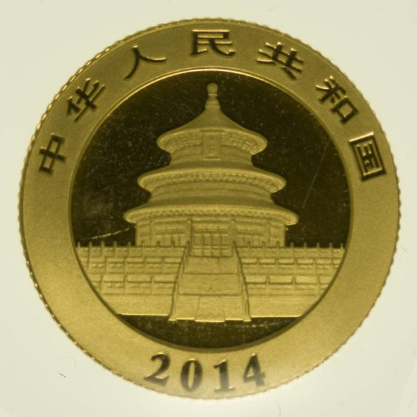 1/10 Unze Goldmünze China Panda 2014 50 Yuan 3,11 Gramm fein Gold RAR