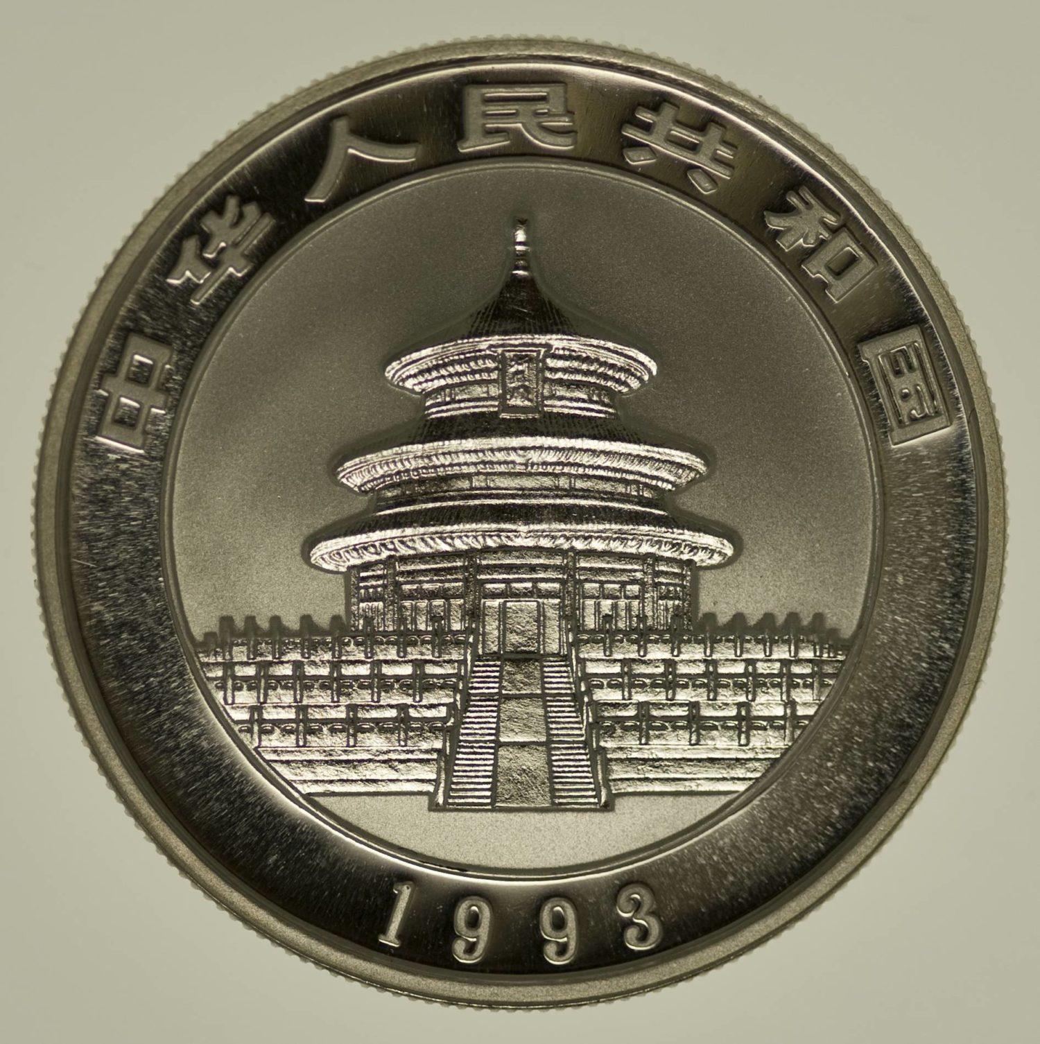 1/2 Unze Silbermünze China Panda 1993, 5 Yuan 15,55 Gramm Silber RAR